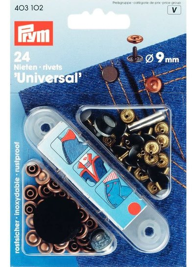 Prym denim rivets - bronze - 9 mm