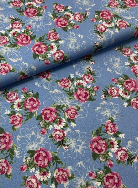 Swafing BLAUW/roos kleine rozen - katoen