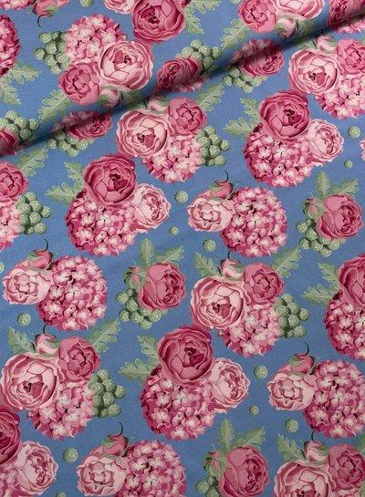 Swafing blauw/roos grote rozen - katoen