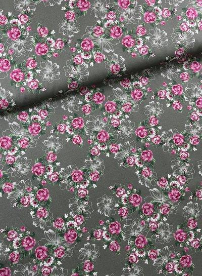 Swafing roos/khaki kleine rozen - katoen