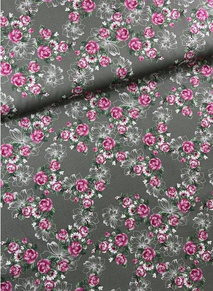 Swafing pink/khaki little roses - cotton