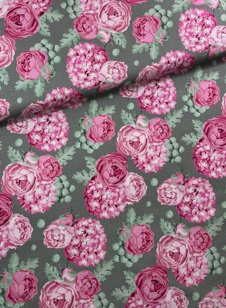 Swafing roos/khaki grote rozen - katoen