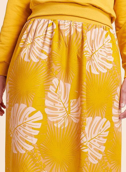 about blue fabrics Crazy plant lady ochre - viscose