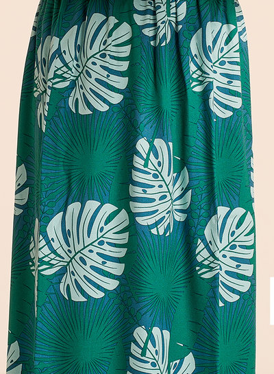 about blue fabrics Crazy plant lady groen - viscose