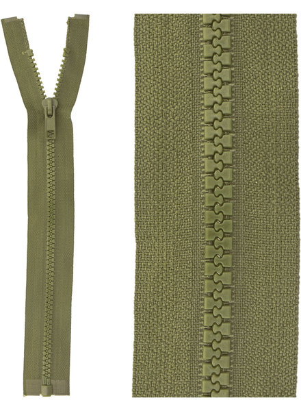 open end zipper  -  army green color 566