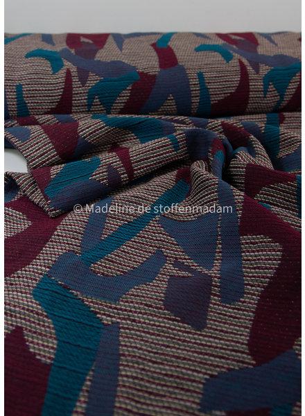 geometric burgundy and blue - woven jacquard