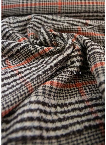brown orange boucle woolen coat fabric