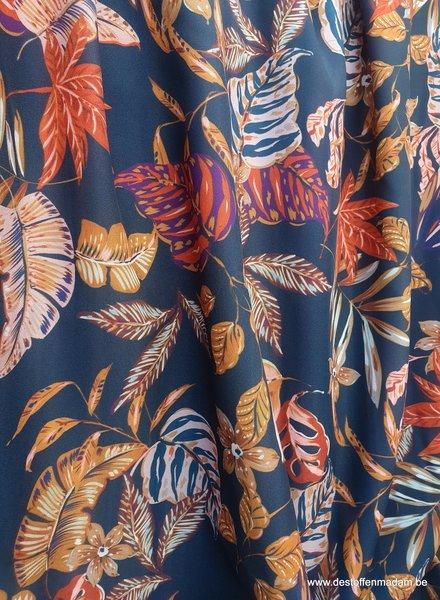 Four ROses leafs navyblue - hele mooie soepelvallende stof - Four Roses