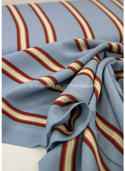 Swafing blauw/bordeaux strepen - viscose