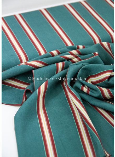 Swafing mint burgundy stripes - viscose