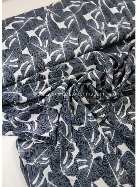 Swafing black leaves - viscose