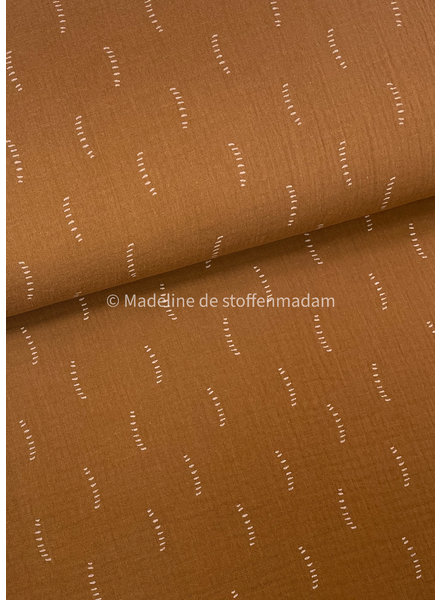 cognac stripes - tetra double gauze - gots label