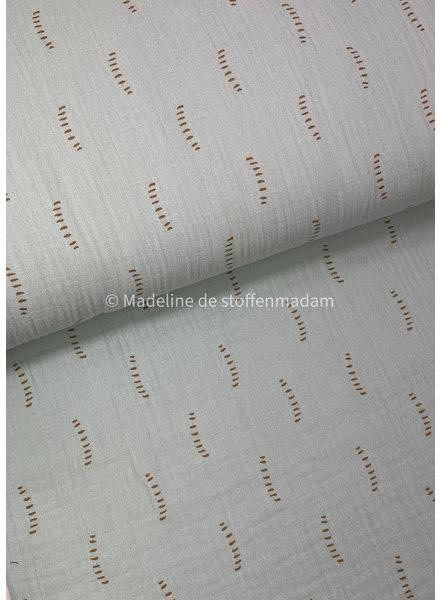 BIO mint stripes - tetra double gauze - gots label