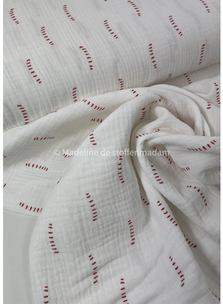 BIO white stripes - tetra double gauze - gots label