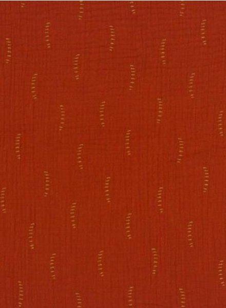 BIO rust stripes - tetra double gauze - gots label