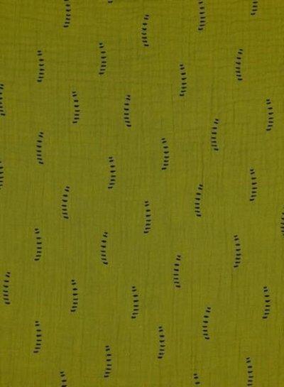 mustard stripes - tetra double gauze - gots label
