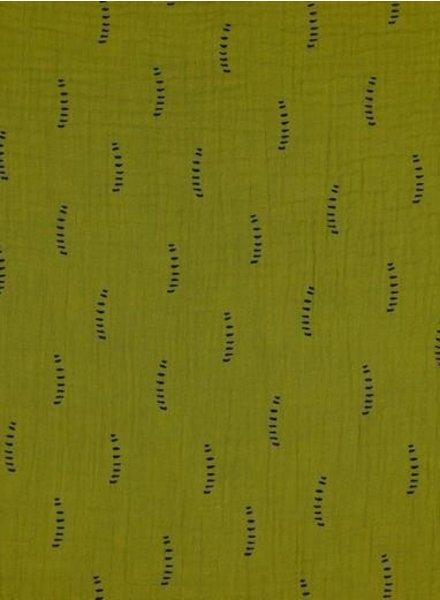 BIO mustard stripes - tetra double gauze - gots label