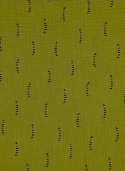 mustard stripes - tetra double gauze - gots label