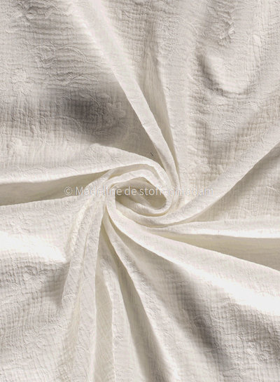 off white flower garland - embroidered tetra