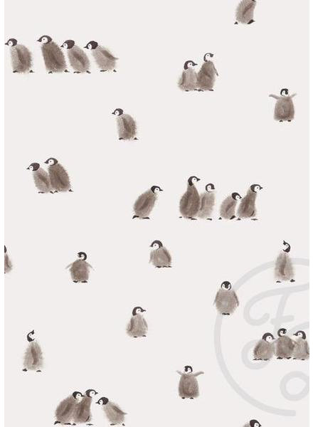 Family Fabrics Pinguins - hele dunne french terry - eerder tricot