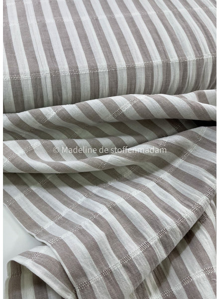 taupe stripes - cotton embroided lines