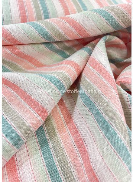 pastel striped lurex - linen viscose mix
