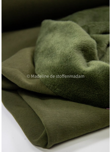 khaki effen happy fleece - dikke jogging