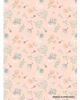 Poppy Cotton woodland songbirds dandelions pink  - katoen