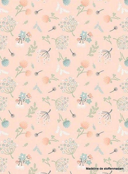 Poppy Cotton woodland songbirds dandelions pink  - cotton