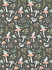 Poppy Cotton woodland songbirds dark grey  - katoen