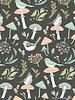 Poppy Cotton woodland songbirds dark grey  - cotton