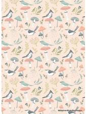 Poppy Cotton woodland songbirds pink  - cotton