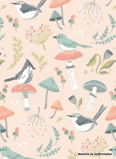 Poppy Cotton woodland songbirds pink  - katoen