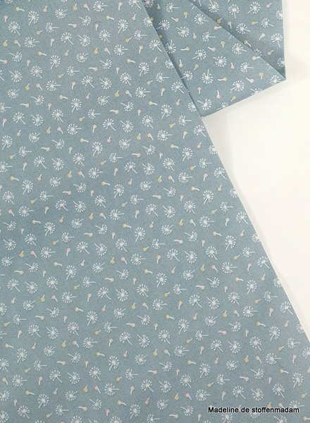Poppy Cotton woodland songbirds dandelions mint  - cotton