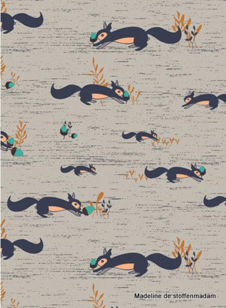 ART GALLERY FABRICS Fusion Little Forester - squirrell - katoen