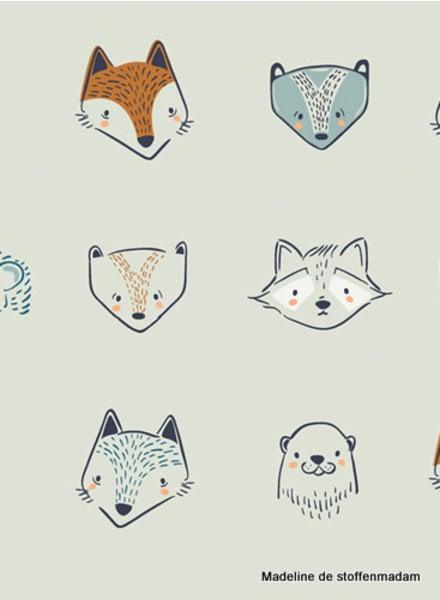 ART GALLERY FABRICS Fusion Little Forester - animal heads - katoen