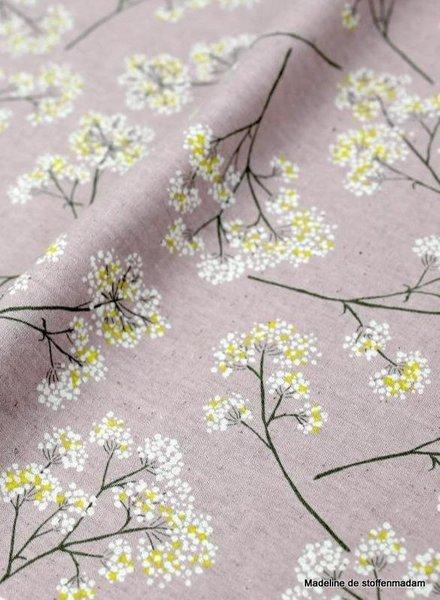 kokka roze  flower garden - linnen katoen mix