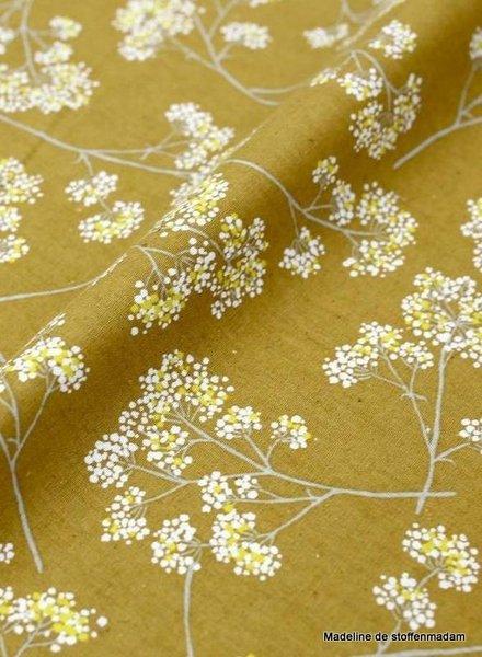 kokka ochre  flower garden - linen cotton mix