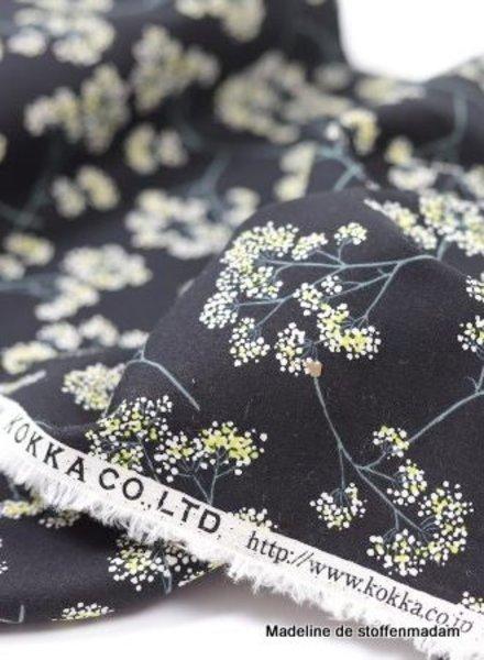 kokka black  flower garden - linen cotton mix
