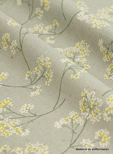 kokka grey  flower garden - linen cotton mix