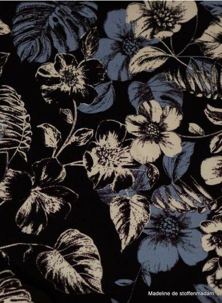 black/blue flowers - viscose
