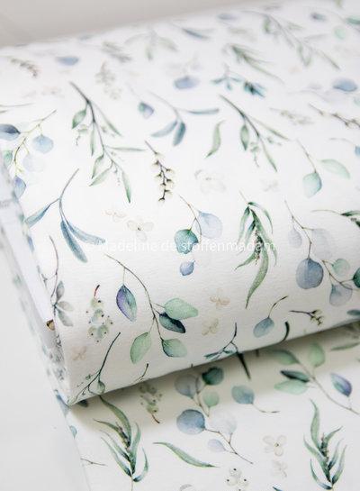 blauw eucalyptus leaves - tricot - oeko tex