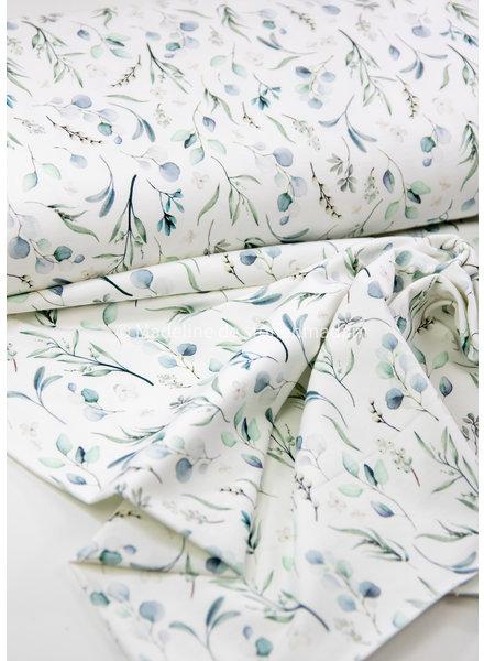 blue eucalyptus leaves - jersey - oeko tex