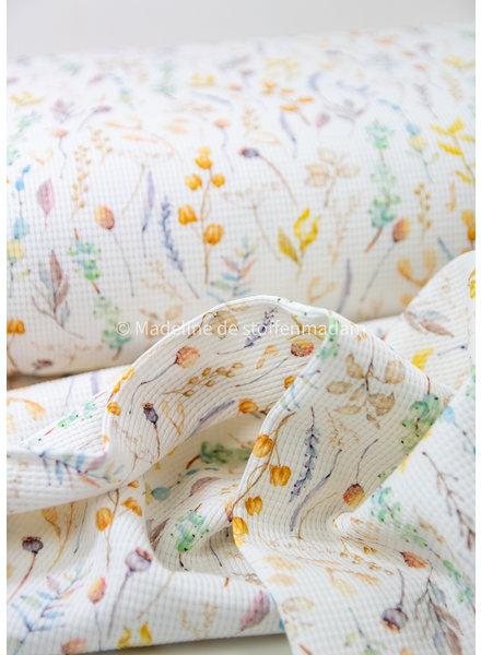 gedroogde bloemen - gewafelde tricot - stevige kwaliteit