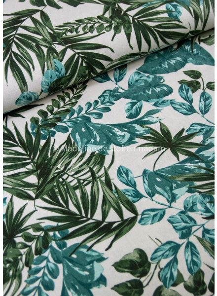 green leaves - linen viscose blend