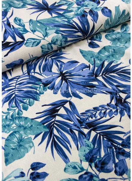 blue leaves - linen viscose blend