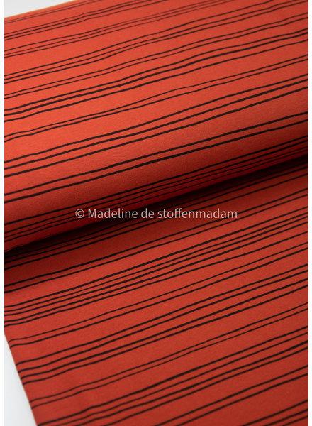 marsala stripes - soft sweat - GOTS label