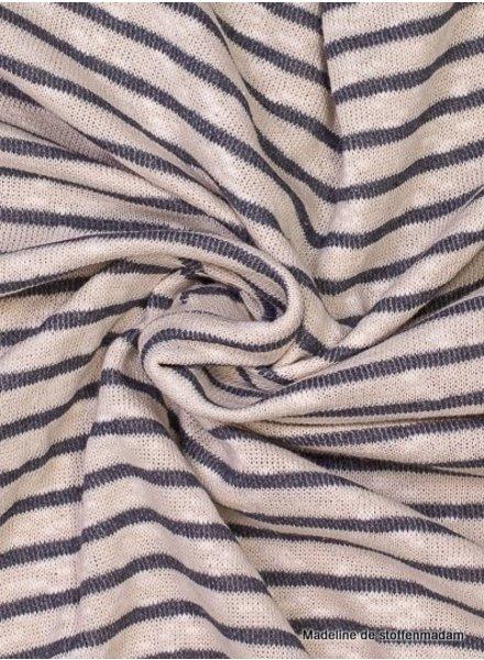 grijs gestreept - gebreide katoenmix