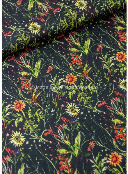 Swafing black flowers - soft touch viscose