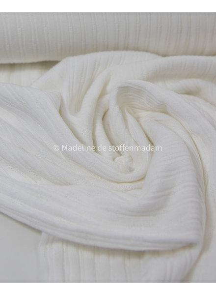 mooie fijne structuur tricot met ribbeltje - melkwit